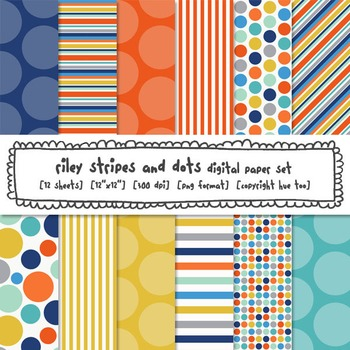 Blue, Orange and Yellow Digital Paper Set, Stripes and Polka Dots, TpT Sellers