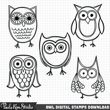 Clipart - Blue Owls