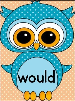 Blue Owl  Dolch 2nd Grade High Frequency Sight Word Flashcards & Posters