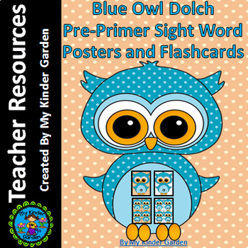 Blue Owl  Dolch Pre-Primer High Frequency Sight Word Flashcards and Posters