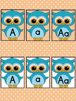 Blue Owl  Full Page Alphabet Letter Posters / Word Wall Headers