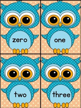 Blue Owl Number Word Flash Cards Math Numbers Zero To One ...