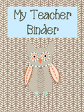 Blue Owl Themed Teacher Binder