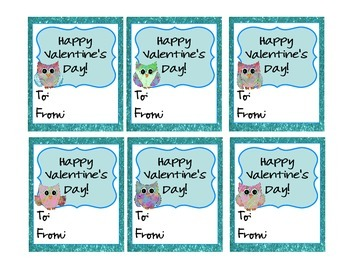Blue Owl Themed Valentines