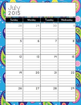 Blue Paisley Calendar and Coordinating Art {2015-2016}