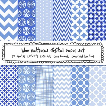 Blue Patterns Digital Backgrounds for TpT Sellers, Chevron, Polka Dots