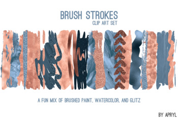 Blue Peach Brush Strokes Paint Glitter Foil Watercolor 20 PNG Clip Art 12in CU