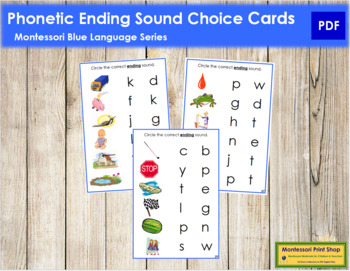 Blue: Phonetic Ending Sound Choice Cards