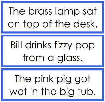 Blue: Phonetic Sentence Cards - Set 1