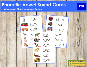 Blue: Phonetic Vowel Sound Cards