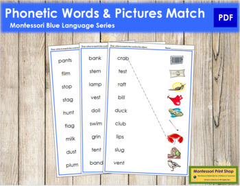 Blue: Phonetic Word and Picture Match