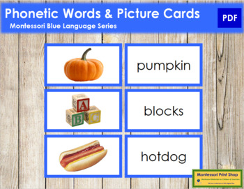 Blue: Phonetic Words and Picture Cards (real pictures)