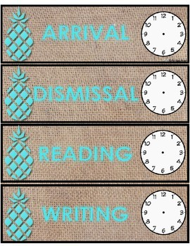 Blue Pineapple and Burlap Schedule Cards!