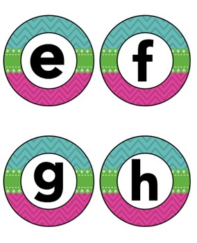 Blue Pink Green Chevron Lower Case Alphabet Signs and Round Word Wall Headers