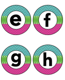 Blue Pink Green Chevron Lower Case Alphabet Signs and Roun
