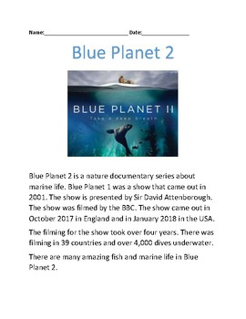 Blue Planet 2 - review article on BBC new series - information questions