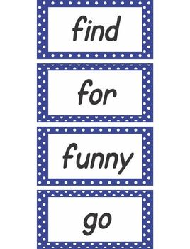 Blue Poika Dot Word Wall Words Pre-Primer