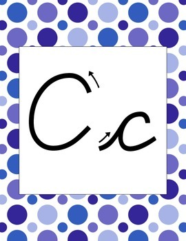 Blue Polk-a-Dot Cursive Alphabet