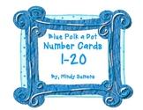 Blue Polk a Dot Number cards 1-20