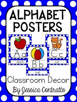 Blue Polka Dot ABC Posters
