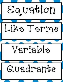 Blue Polka Dot Algebra Vocabulary