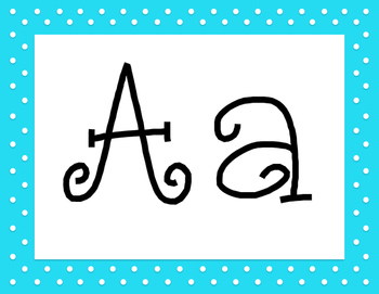 Blue Polka Dot Alphabet with 5 Fonts