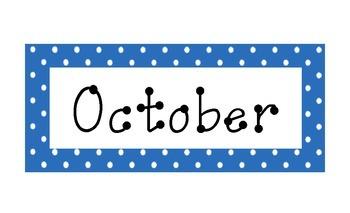 Blue Polka Dot Calendar Months