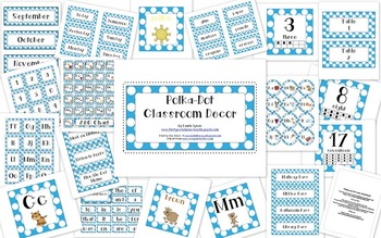 Blue Polka-Dot Classroom Decor