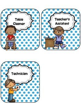 Blue Polka-Dot Classroom Jobs