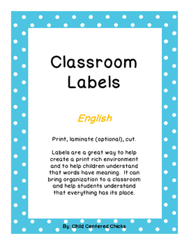 Classroom Labels - English Blue Polka Dot