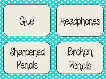 Blue Polka Dot Classroom Supply Labels