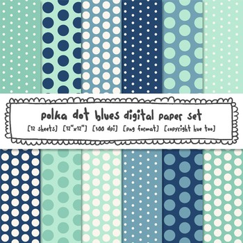 Blue Polka Dot Digital Papers, Classroom Decor Backgrounds for TpT Sellers