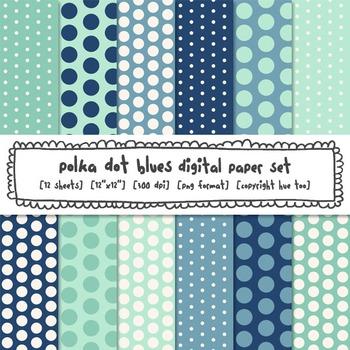 Blue Polka Dot Digital Papers, Classroom Decor Backgrounds
