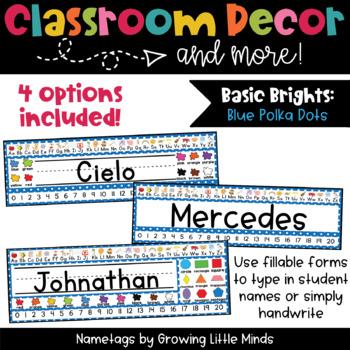 Blue Polka Dot Nametags Classroom Decor