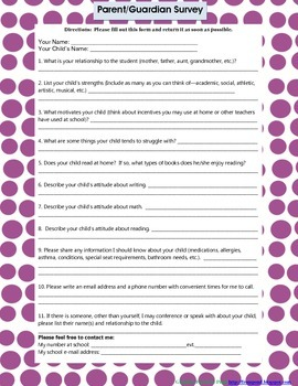 Blue Polka-Dot Parent Survey