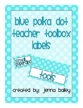 Blue Polka Dot Teacher Toolbox Labels