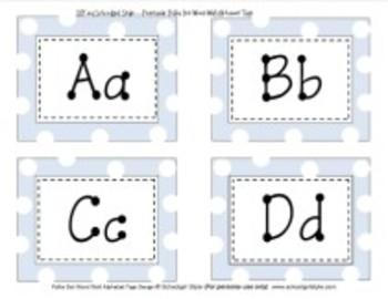 Word Wall Blue Polka Dot Alphabet Tags Classroom Decor