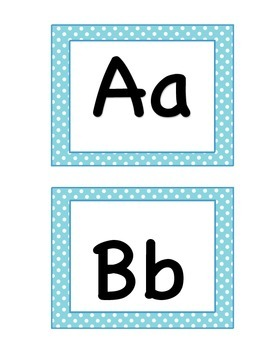 Blue Polka Dot Word Wall Letters