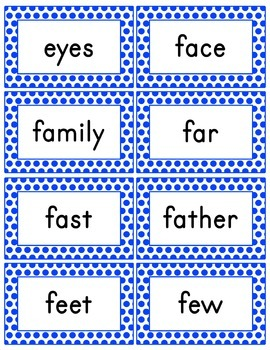 Blue Polka Dot Word Wall (With Editable PDF) with Headers