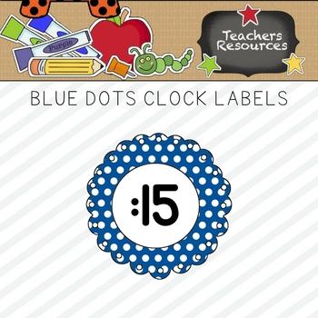 Blue Polka Dots Clock Numbers