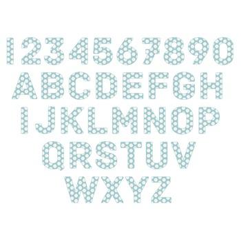 Blue Polka Dots Digital Alphabet - F00009