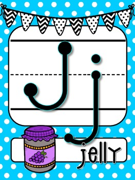 Blue Polka Dots with Black and White bunting Alphabet Line