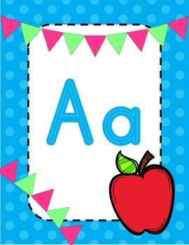 Blue Polka dot and banner alphabet
