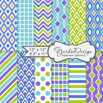Blue Purple And Green Geometric Digital Paper Set, 12 Digital Paper Sheets