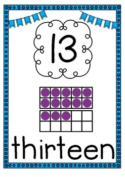 Blue & Purple Number Posters (11-20)
