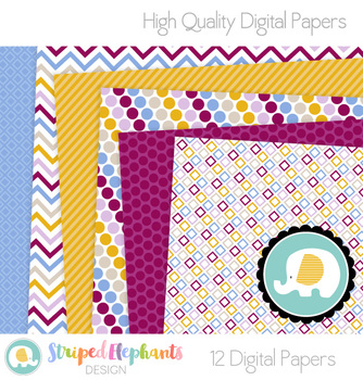 Blue, Purple and Yellow Digital Papers