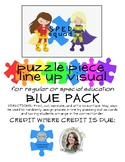 Blue Puzzle Piece Line Up Visual 1-30