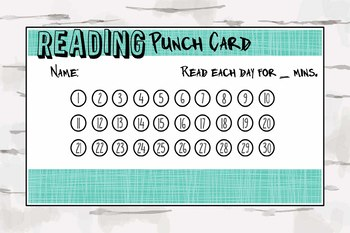 Blue Reading Punch Card, Reward Chart, Homeschooling, Reading Program, pdf