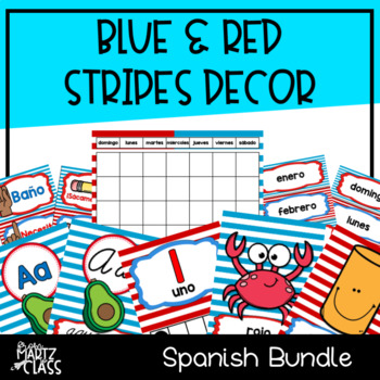 Blue & Red Stripes Classroom Decor BUNDLE (SPANISH)