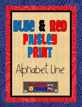 Blue & Red Paisley Themed Manuscript Alphabet Line